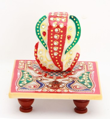 Shining Wings Chowki Ganesh Showpiece  -  10 cm(Marble, Multicolor)  available at flipkart for Rs.140
