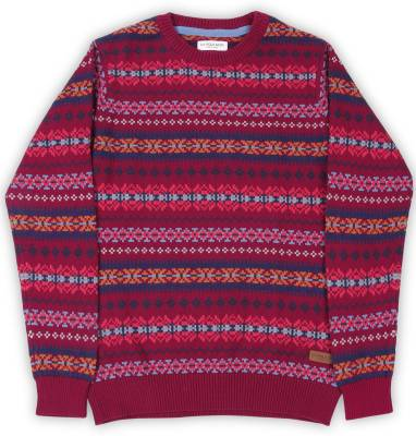 US Polo Kids Self Design Round Neck Casual Boys Red Sweater
