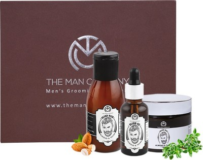 The Man Company Almond & Thyme Complete Premium Beard Growth Kit - Beard Wash (100ml), Beard Oil (30 ml), Beard Wax (50gm)(Set of 3)