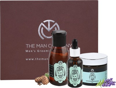 The Man Company Lavender & Cedarwood Premium Beard Care Kit - Beard Wash (100ml), Beard Oil (30 ml), Beard Wax (50gm)(Set of 3)