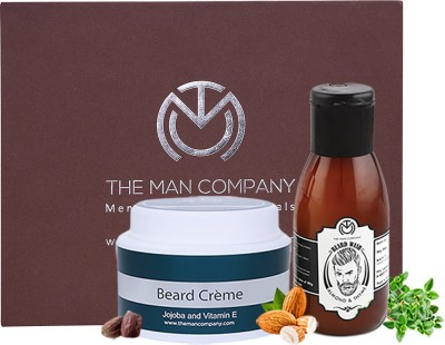 The Man Company Premium Beard Care and Nourishment Combo - Almond & Thyme Beard Wash (100 ml), Jojoba and Vitamin E Beard Cream (100 gm)(Set of 2)