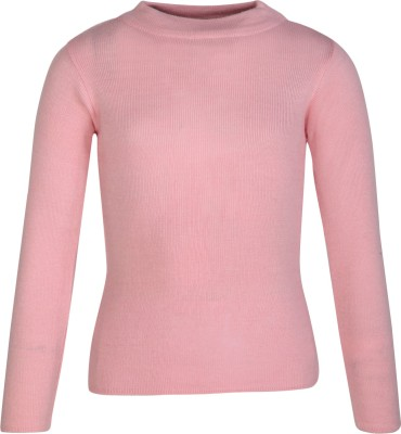 Cayman Girls Casual Wool Acrylic Blend Sweater Top(Pink, Pack of 1)
