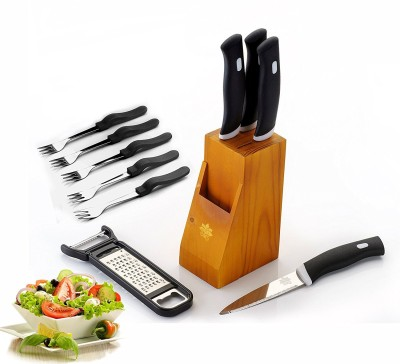 BMS Lifestyle Pro Stainless Steel Knife Sets With Wooden Stand/Block , 10-Pieces, Black Steel Knife Set(Pack of 10)  available at flipkart for Rs.399