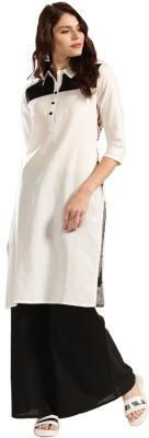 Anouk Women Printed Straight Kurta(White)