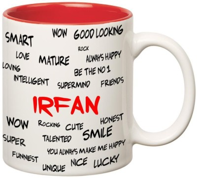 Huppme Good Personality Irfan Inner Red Ceramic Mug(350 ml)