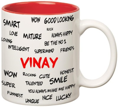 Huppme Good Personality Vinay Inner Red Ceramic Mug(350 ml)
