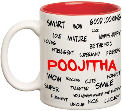 Huppme Good Personality Poojitha Inner Red Ceramic Mug(350 ml), Red;white
