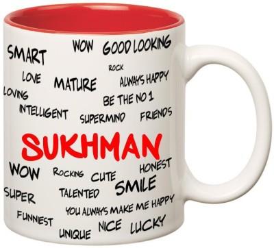Huppme Good Personality Sukhman Inner Red Ceramic Mug(350 ml), Red;white