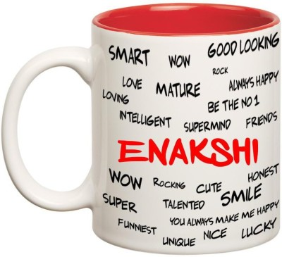 Huppme Good Personality Enakshi Inner Red Ceramic Mug(350 ml), Red;white