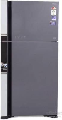 Hitachi 565 L Frost Free Double Door 3 Star Refrigerator Glass Grey, R VG610PND3 Hitachi Refrigerators