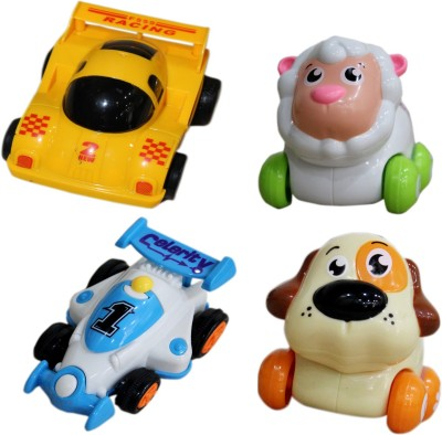 Toys Factory Set Of 2 Animal Product & 2Racing Cars Rattle(Multicolor)
