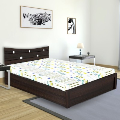 UNiCOS Crescent Engineered Wood King Bed With Storage(Finish Color -  Midnight Oak)