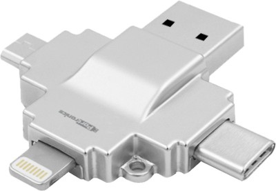 Portronics DISKI 4-in-1 Card Reader connect with USB, Micro USB, Type C and Lightning (MFI Certified) Silver Card Reader(Silver)