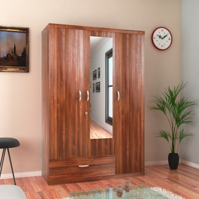 HomeTown Ambra Engineered Wood 3 Door Almirah(Finish Color - White,Larch, Mirror Included)