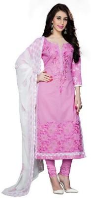 Manvaa Poly Silk Embroidered Kurta & Churidar Material(Semi Stitched)