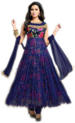 Julee Faux Georgette Printed, Solid Gown/Anarkali Kurta & Bottom Material(Semi Stitched)