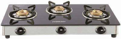 Eveready TGC 3B RV Glass, Stainless Steel, Brass Manual Gas Stove(3 Burners)