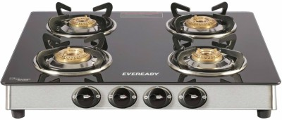 Eveready TGC 4B RV Brass, Glass, Stainless Steel Manual Gas Stove(4 Burners)