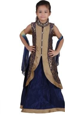 Crazeis Girls Lehenga Choli Western Wear Embroidered Lehenga Choli(Blue, Pack of 1) at flipkart