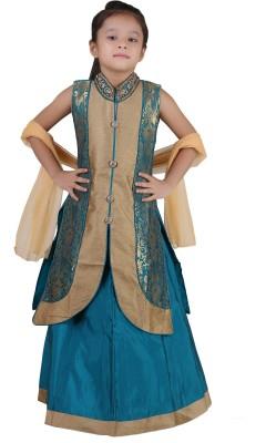 Crazeis Girls Lehenga Choli Western Wear Embroidered Lehenga Choli(Green, Pack of 1) at flipkart