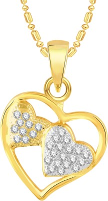 VK Jewels Two Heart 18K Yellow Gold Cubic Zirconia Alloy Pendant