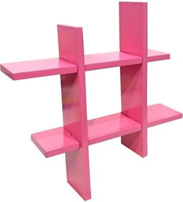 TECH DECOR Plus Style Shelf Wooden Wall Shelf(Number of Shelves - 2, Pink)