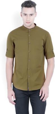 Locomotive Men's Solid Casual Brown Shirt