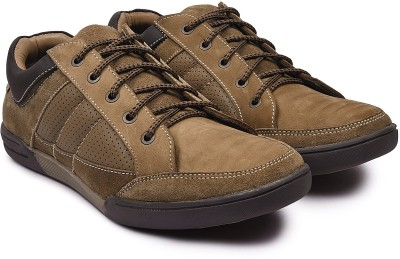 Andrew Scott Men's Olive Leather Hiking & Trekking Shoes For Men(Olive)
