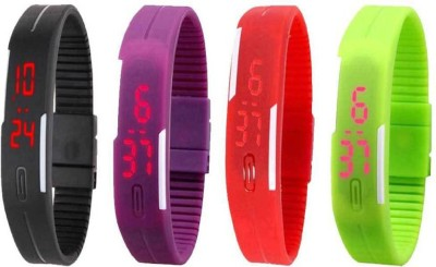 Fashion Gateway Black Purple Red and Green Led Magnet Band (pakc of 4) Watch  - For Boys & Girls