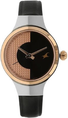 Image of Fastrack Black Dial Leather Strap Watch Watch - For Girls