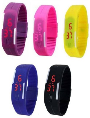 NS18 Silicone Led Magnet Band Combo of 4 Purple, Yellow, Brown And Pink Watch  - For Boys & Girls