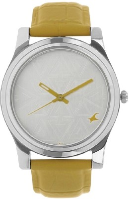 Image of Fastrack Silver Dial Yellow Leather Strap Watch - For Girls