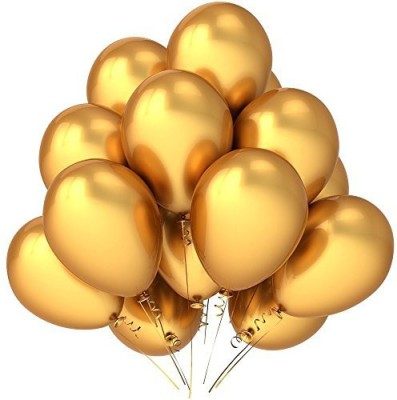PARTY PROPZ Solid BALLOONS PACK OF 25/ GOLDEN METALLIC PARTY DECORATION/ Balloon(Gold, Pack of 25)