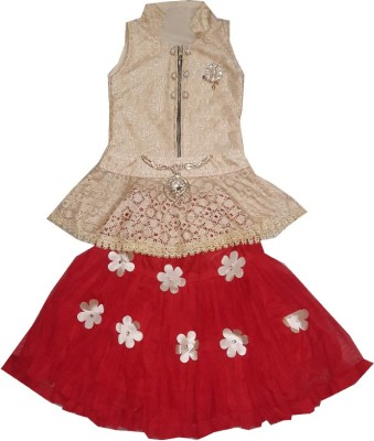 kraft10 Girls Festive & Party Top and Skirt Set(Red Pack of 1)