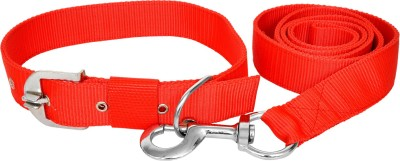 Manal Enterprises Dog Collar & Leash(Extra Small, Red)