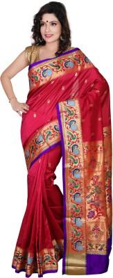 Aruna Fashions Embellished, Printed, Embroidered Paithani Art Silk Saree(Red) Flipkart