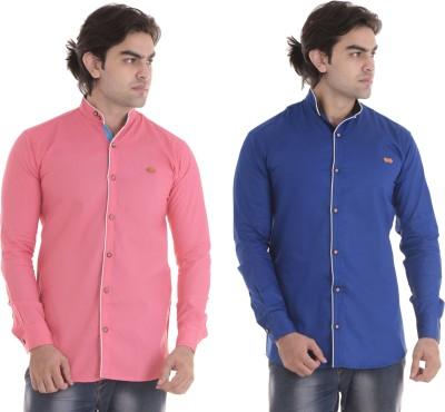 COBIO MAN Men Solid Casual Mandarin Shirt(Pack of 2)