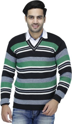 Christy's Collection Striped V-neck Casual Men's Green Sweater