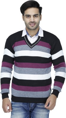 Christy's Collection Striped V-neck Casual Men's White Sweater