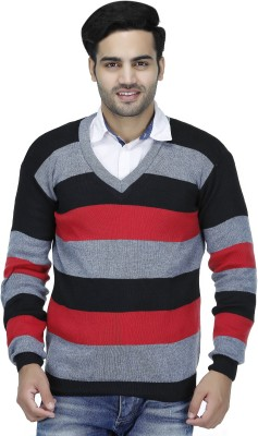 Christy's Collection Striped V-neck Casual Men's Gold Sweater