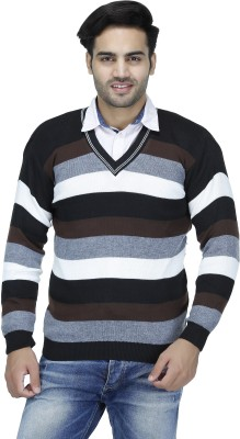 Christy's Collection Striped V-neck Casual Men's Brown Sweater