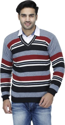 Candy House Striped V-neck Casual Men's Grey Sweater