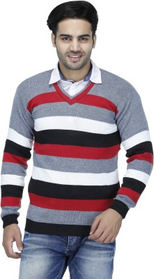Christy's Collection Striped V-neck Casual Men's Red Sweater