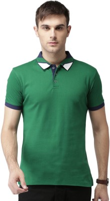 Invictus Solid Men Polo Neck Green T-Shirt at flipkart