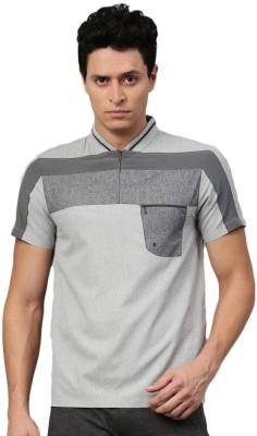 HRX by Hrithik Roshan Self Design Men Mandarin Collar Grey T-Shirt at flipkart
