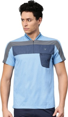 HRX by Hrithik Roshan Self Design Men Mandarin Collar Blue T-Shirt at flipkart