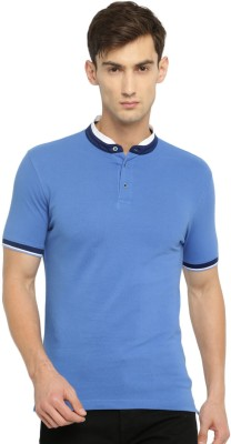 Invictus Solid Men Mandarin Collar Blue T-Shirt at flipkart