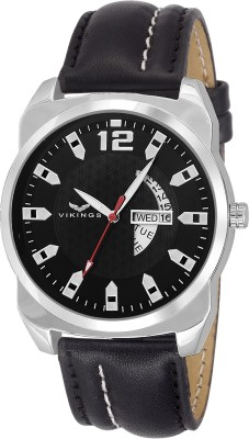 vikings VK-G1103-BLK-BLK-DAY & DATE CALENDAR WATCH WITH WHITE STITCHING BLACK STRAP DD-SERIES Watch  - For Men   Watches  (VIKINGS)