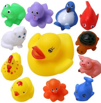 ODDEVEN 12pcs Random Lovely Rubber Squeaky Animal Bath Toys/floating Fun for Baby Bath Toy(Multicolor)