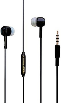 accincart black earphone Wired Headset with Mic(Black, In the Ear)